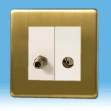 Varilight 2 Gang Datagrid Plate Screwless Brushed Brass + Satellite TV Outlet & + TV Outlet module
